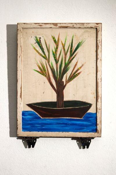Μικρή ζωγραφιά με πλαστικά χρώματα σε χαλασμένο πορτάκι κουζίνας. 45 x 30 x 3εκ