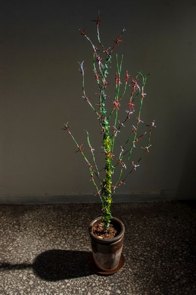 Διακοσμητικό αγκάθι-φυτό, αποτελούμενο από επιχρωματισμένα ρετάλια συρματοπλέγματος, σε κεραμική γλάστρα με χώμα, χάλκινο πιατάκι. 129 x 35 x 40εκ.