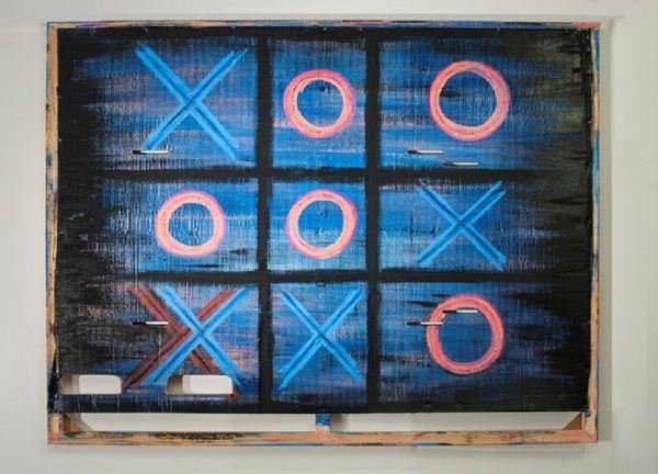 Τελάρο ζωγραφικής,  σκληρό χαρτόνι από συσκευασία μοτοσυκλέτας, πλαστικά χρώματα , ντουκοχρώματα, και λαδομπογιές.  140 x 176 x 4εκ